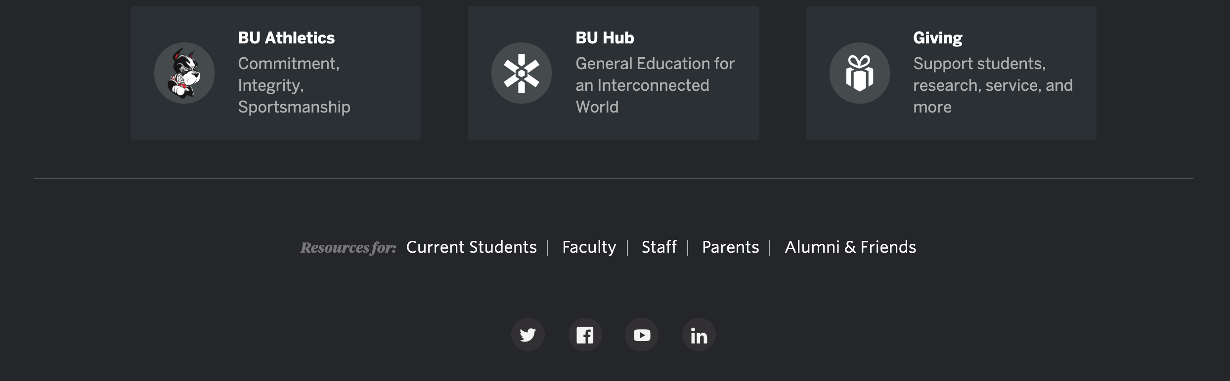 Image of the footer used for the Boston University website
