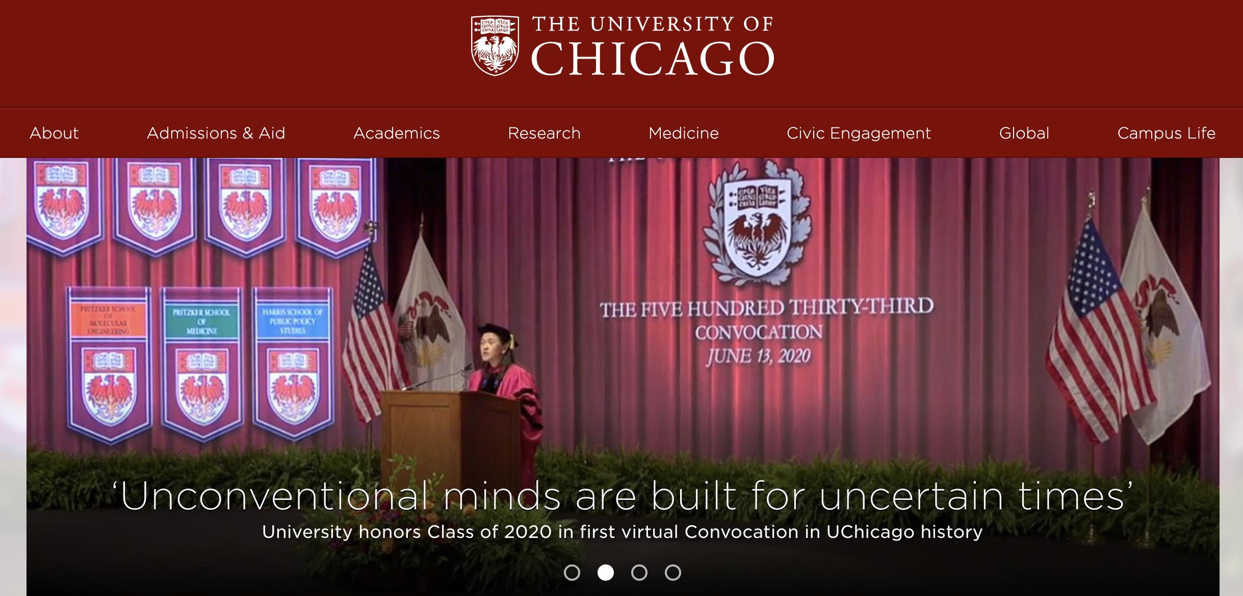 Chicago University website header