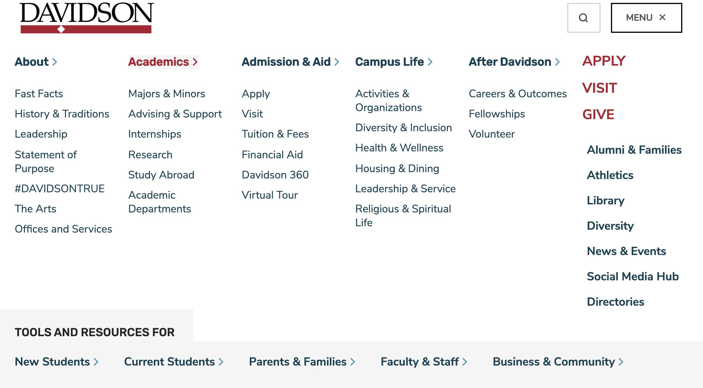 Davidson College website header
