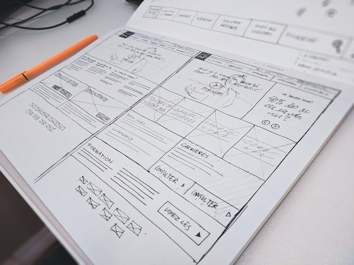Design board with wireframes.