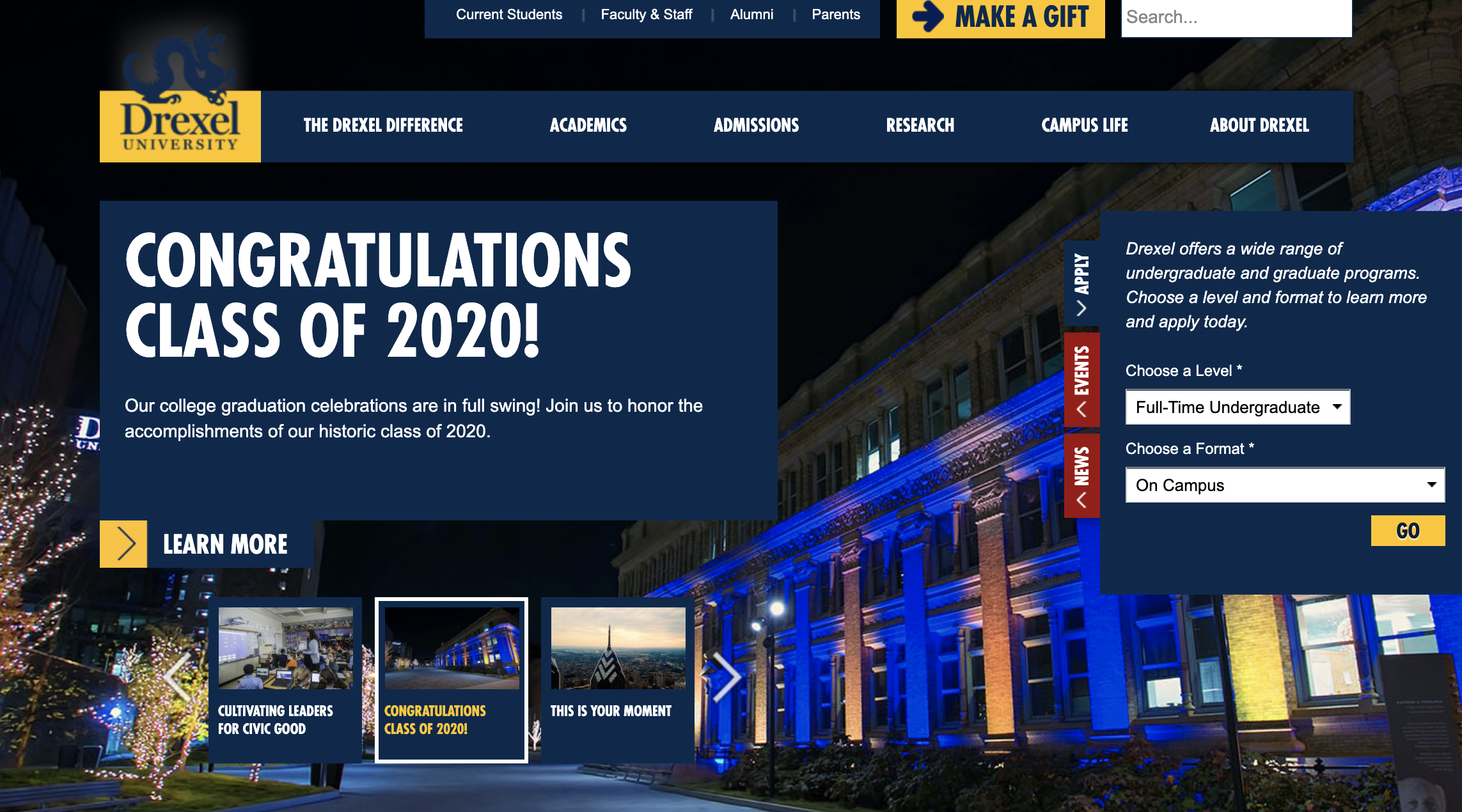 Drexel University website header