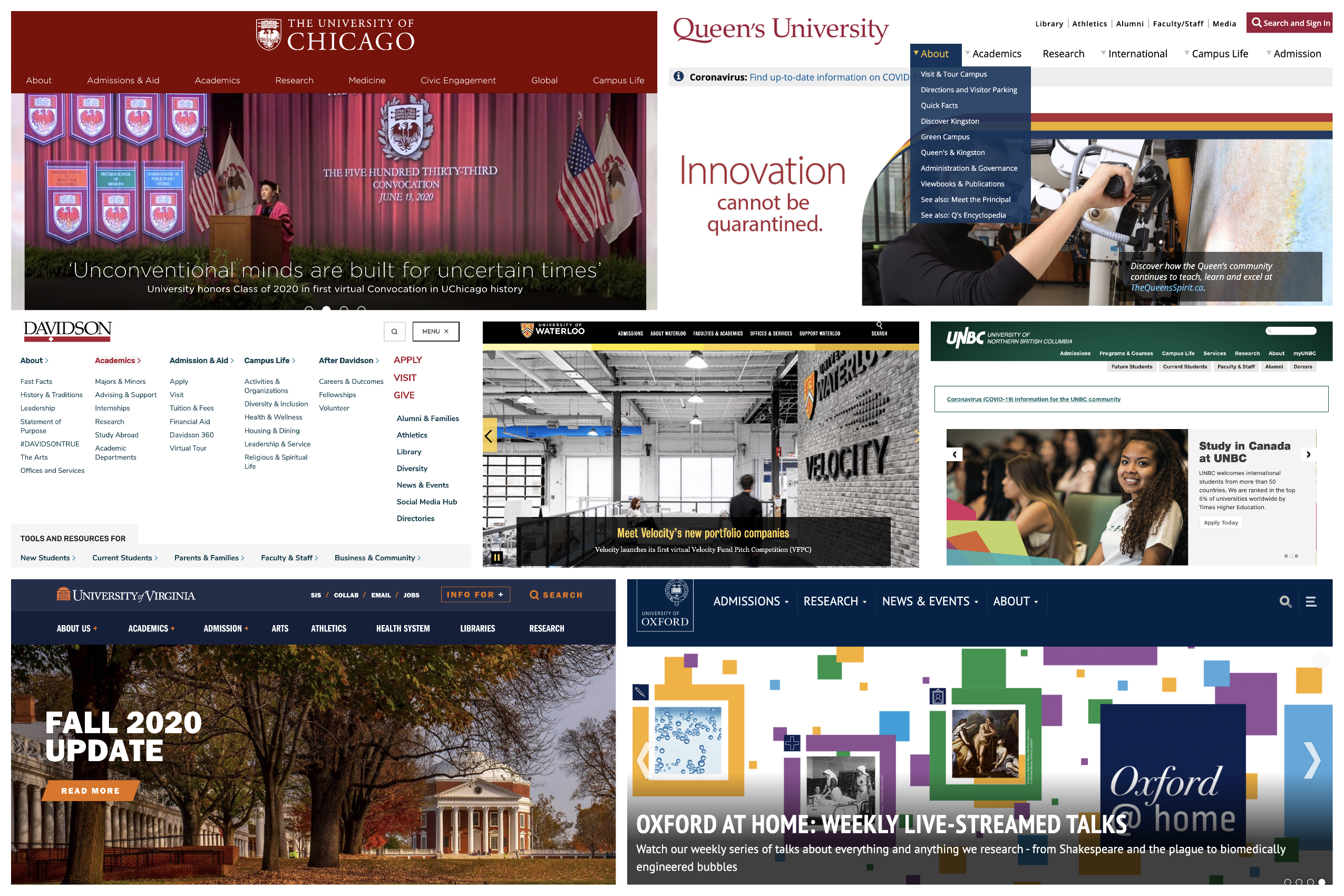 A compilation of various website header designs from institutions of higher education