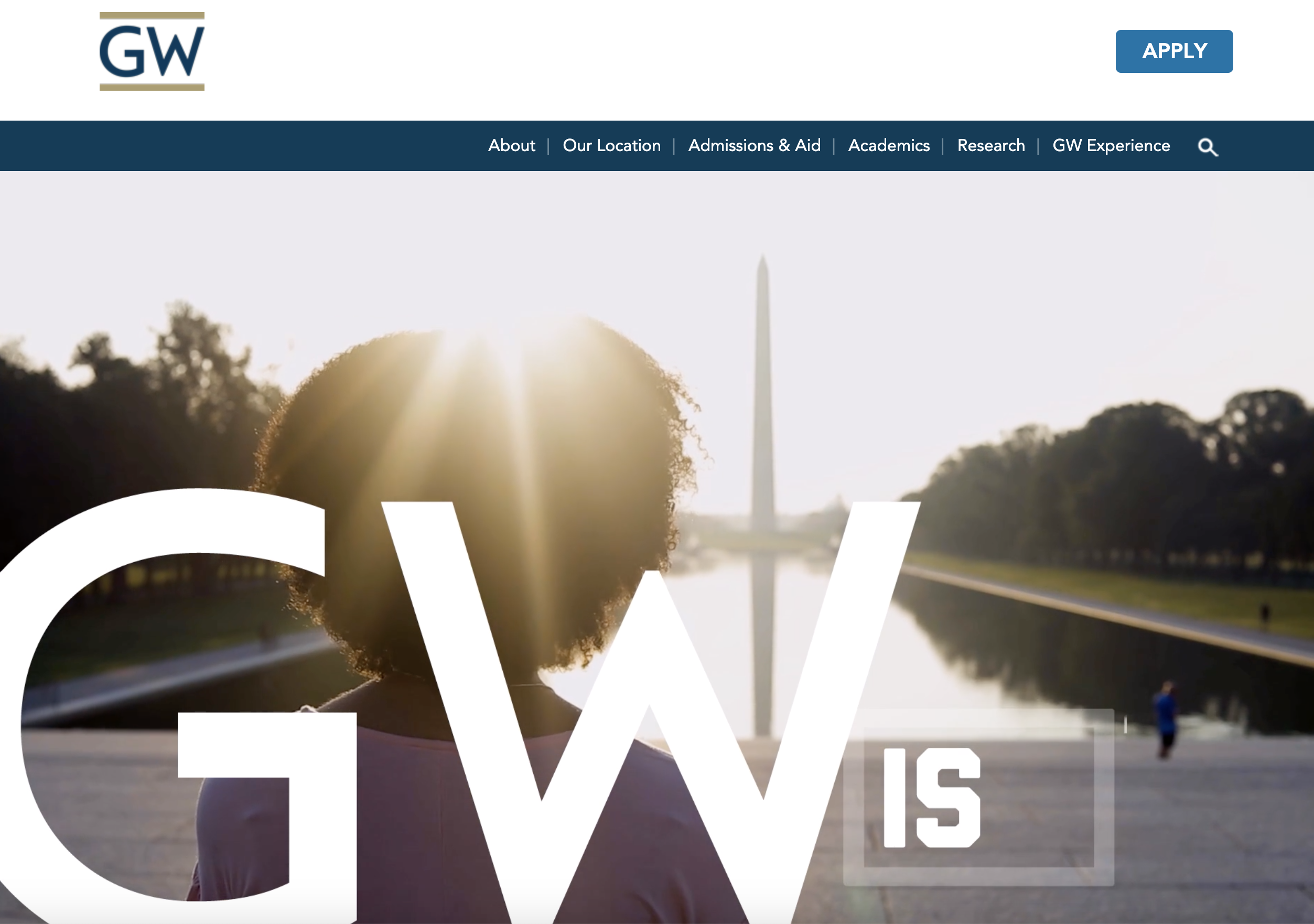 George Washington University website header
