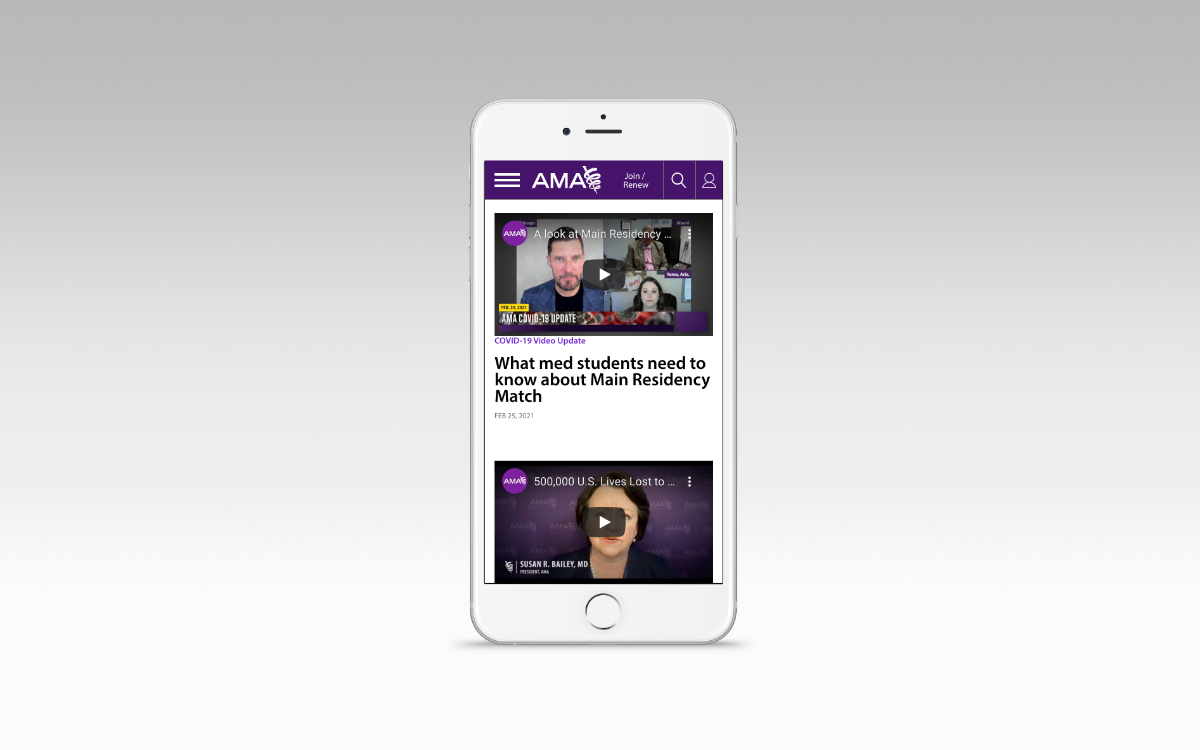 American Medical Association website displayed on an iPhone screen to show mobile friendly design.