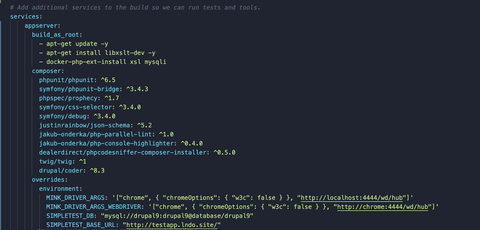 Screenshot of modifying the .lando.yml file.