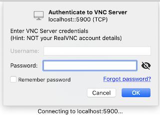 Screenshot of login for a VNC viewer.
