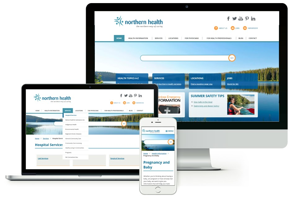 Image of Northern Health's new website displayed on multiple Apple device screens.