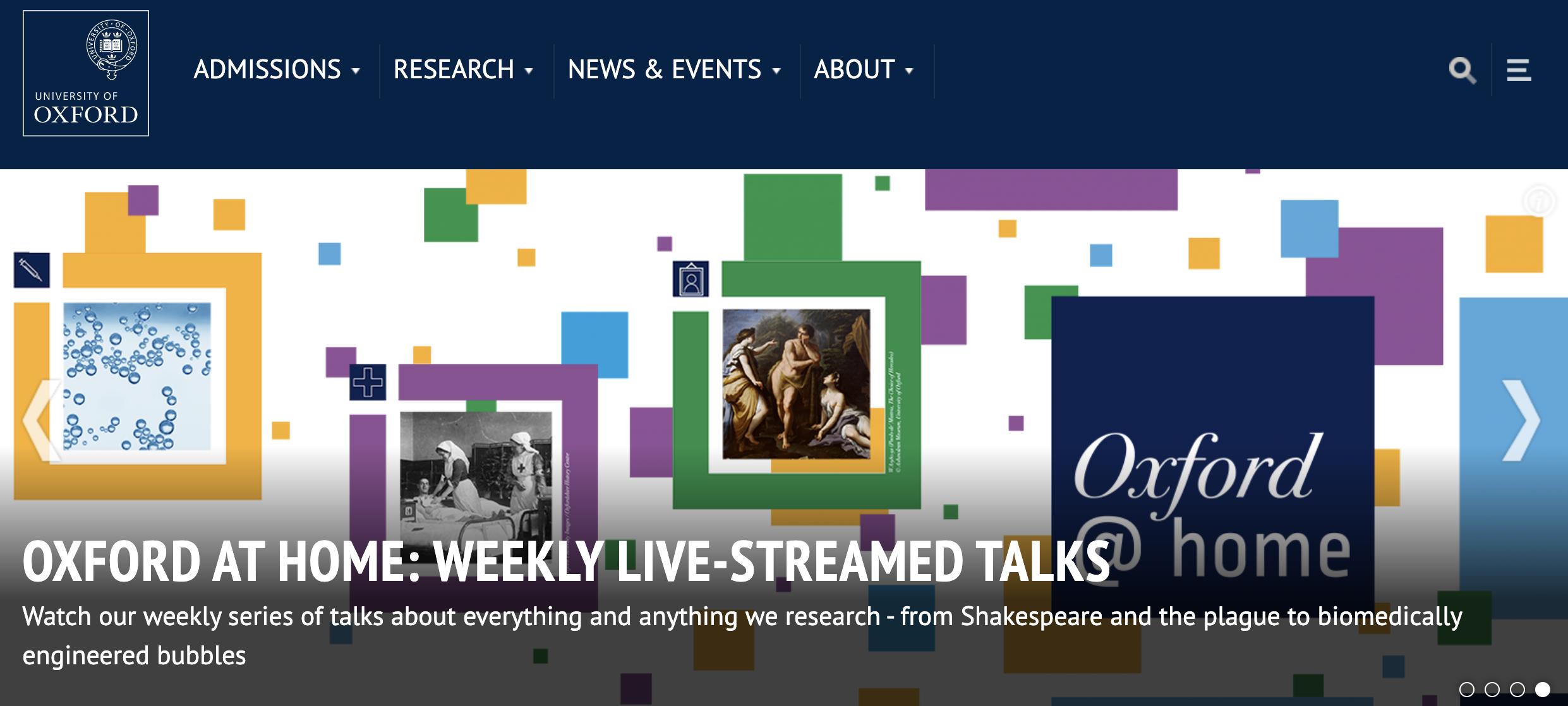 Oxford university website header