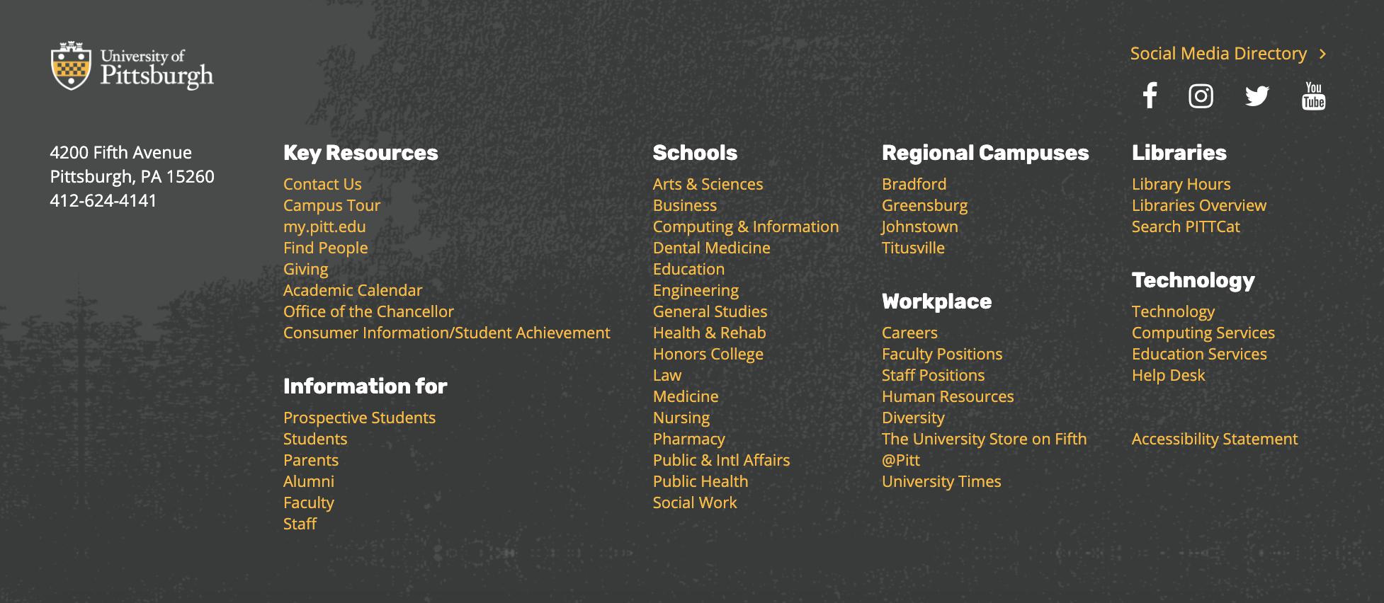 University of Pittsburg website footer