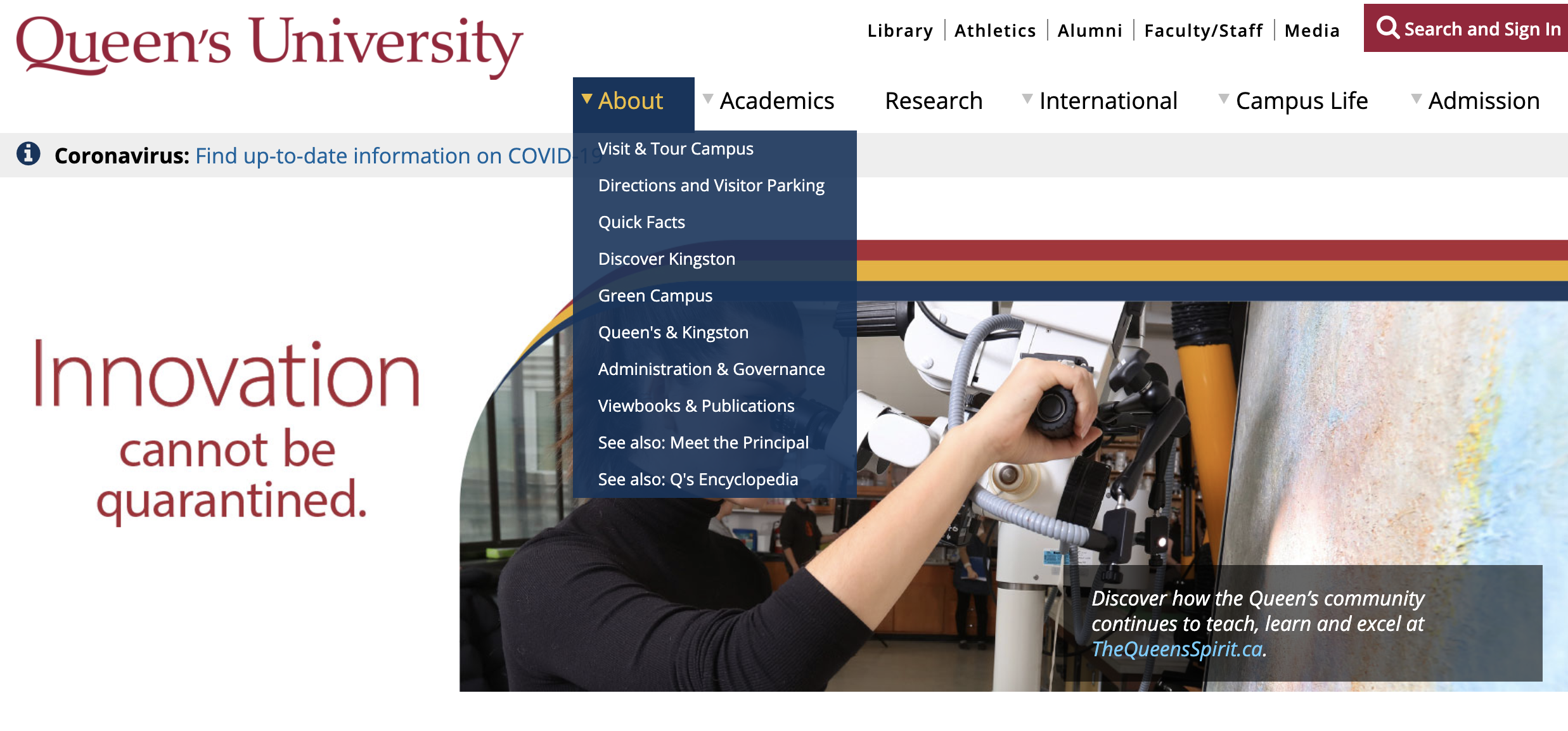 Queen's University Website header