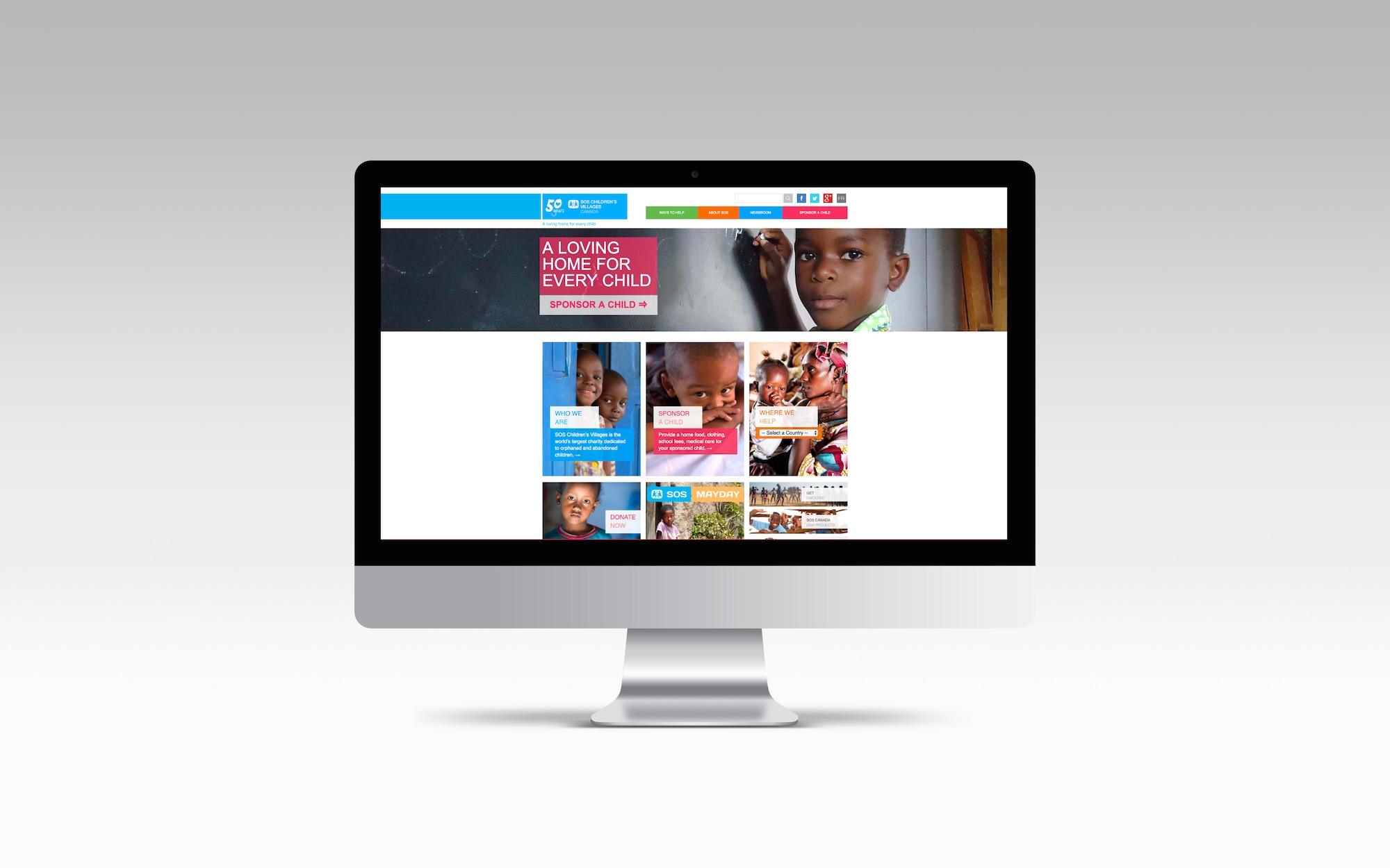 Image of SOS new website displayed on Apple desktop screen.