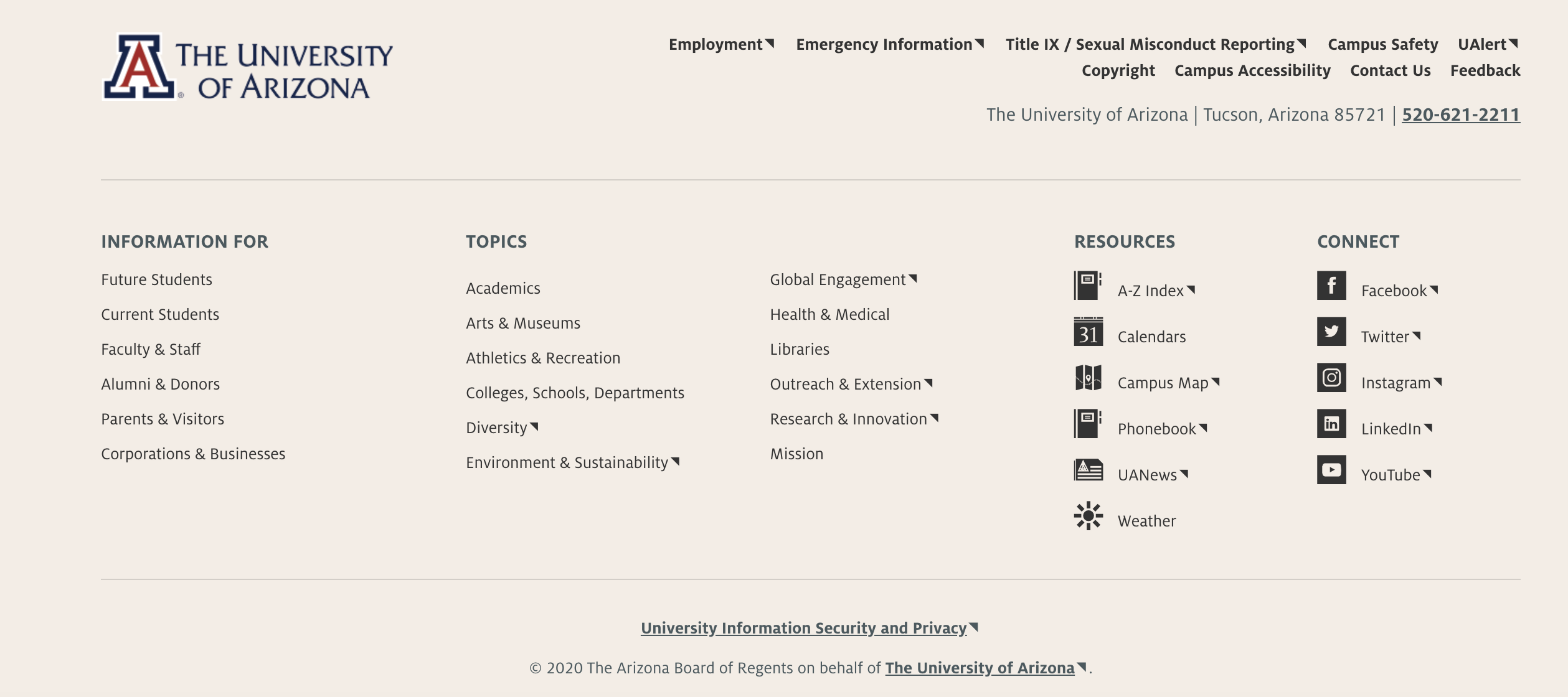 Image of the footer used on the University of Arizona website