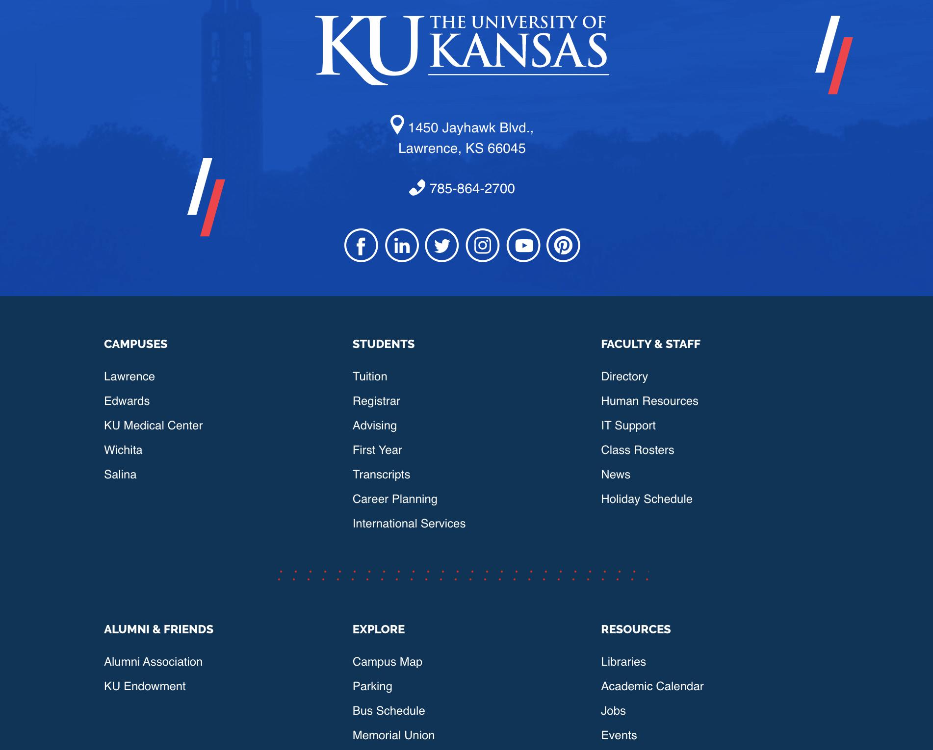 Kansas University website footer