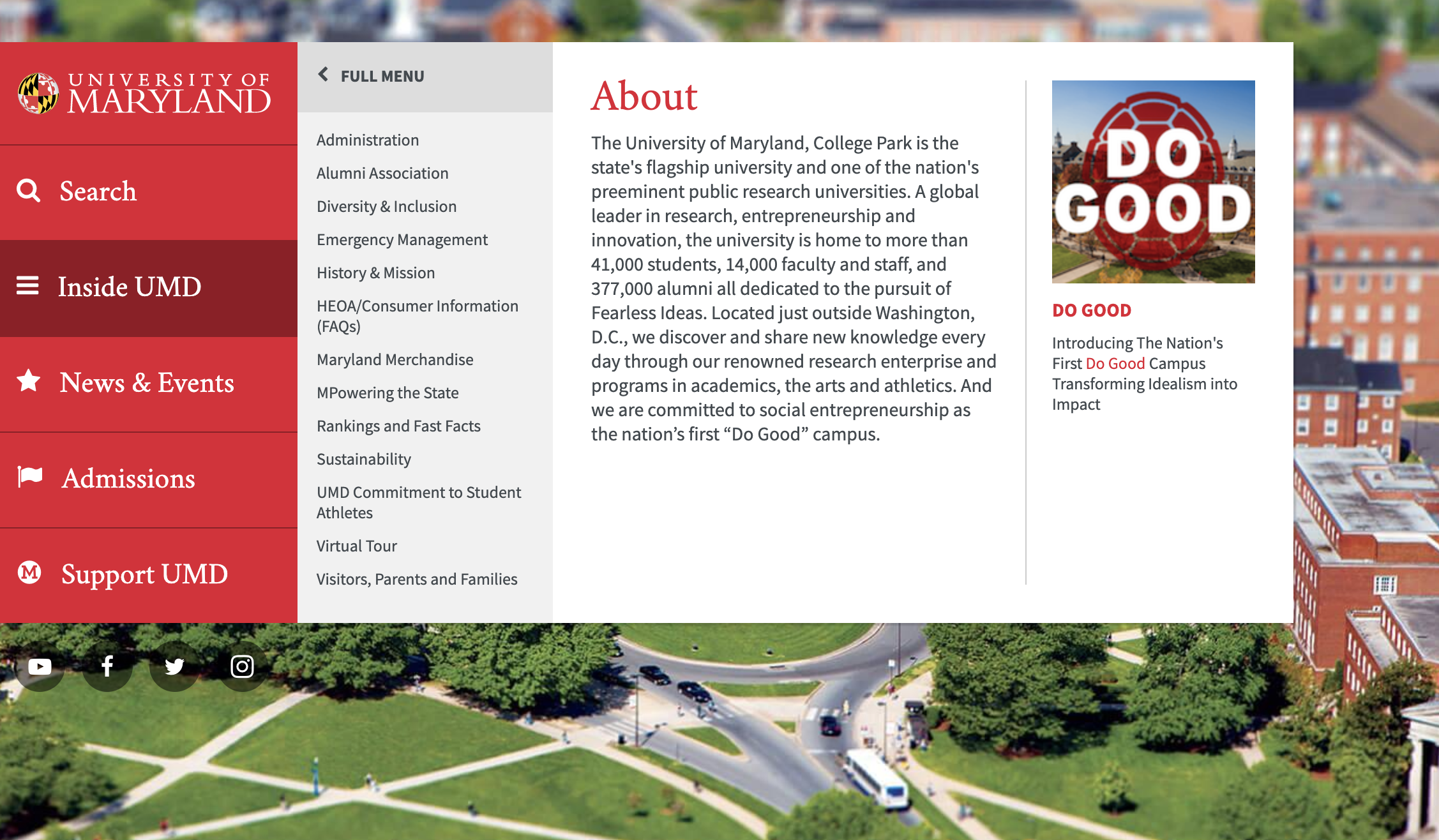 University of Maryland website header