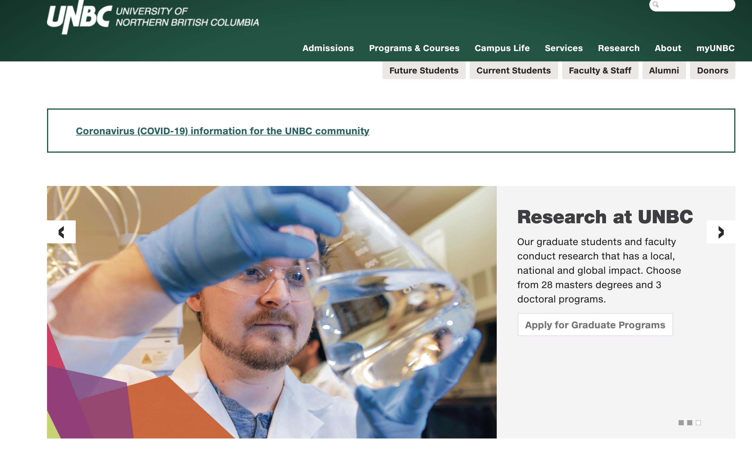 University of Northern British Columbia website header with slideshow