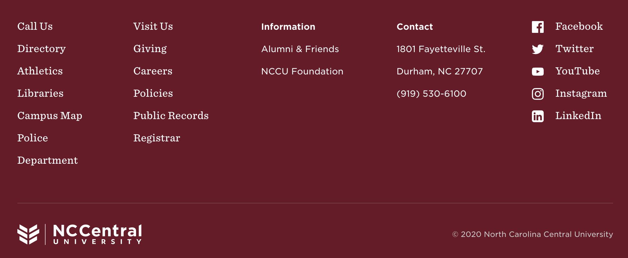 North Carolina Central University website footer