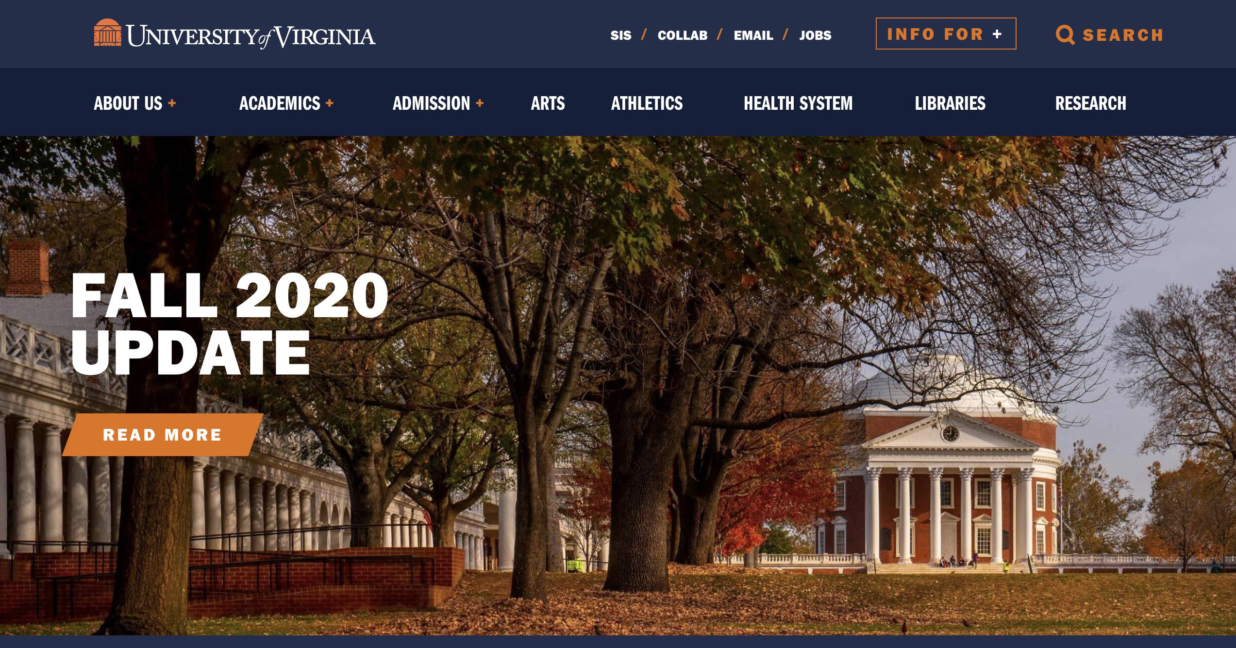 University of Virginia website header