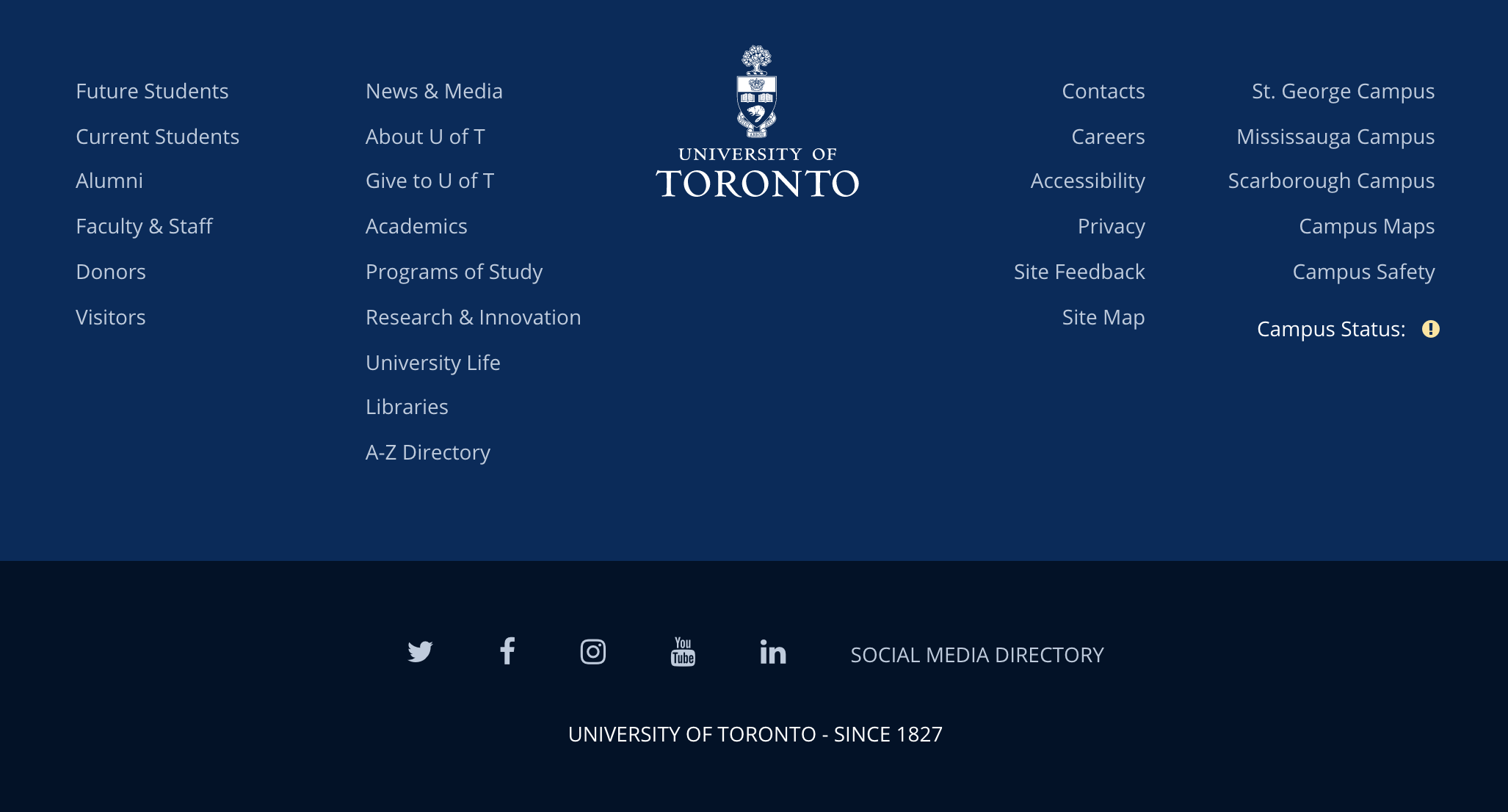 University of Toronto website footer