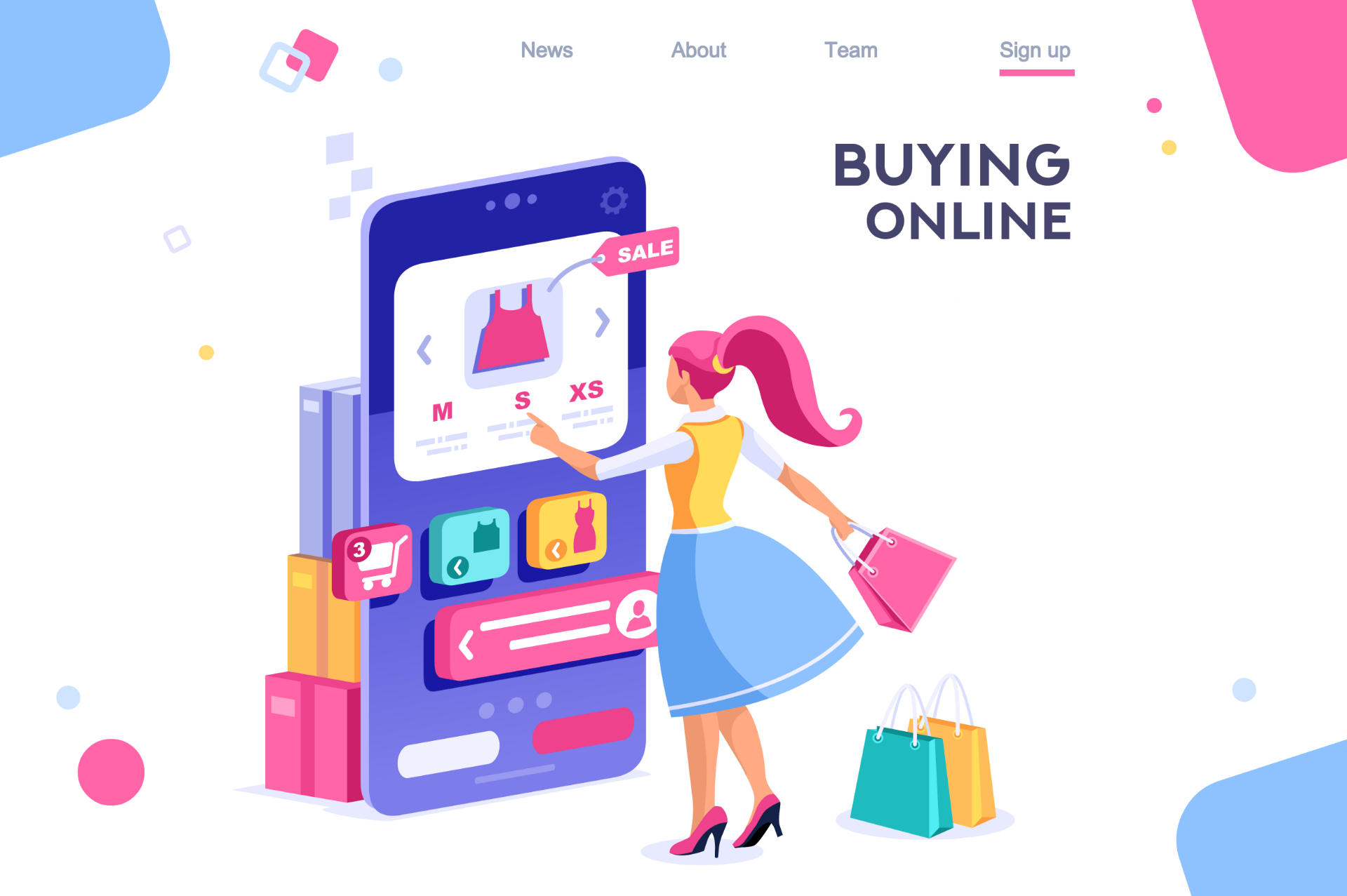 Graphic design image of woman using a checkout portal for ecommerce.