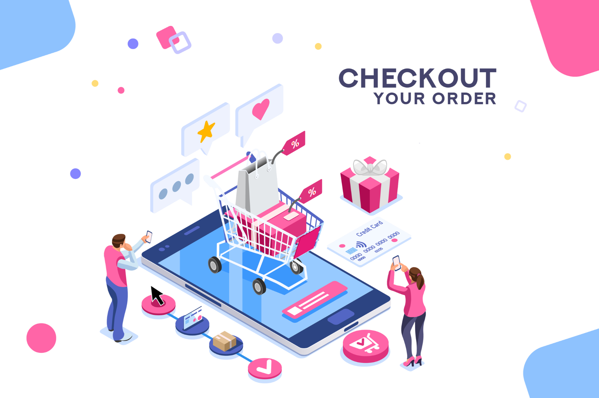 Graphic design of ecomm checkout order process.