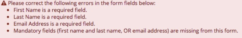 input errors on an accessible web form